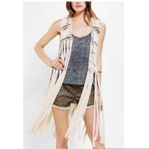 UO Staring at Stars Macrame Style Vest Beaded
